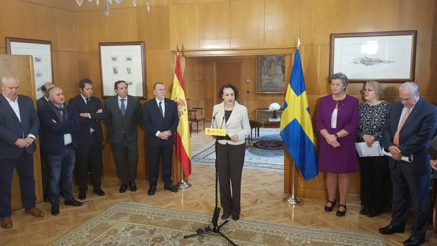Spanish Minister of Labour, Migrations and Social Security Magdalena Valerio expressing Spain´s support to the Global Deal.